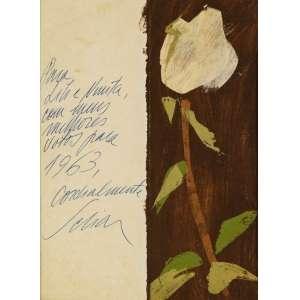Carlos Scliar - Tulipa Branca - 22,5 x 16,5 cm - Óleo sobre Papel - Ass. LE e Dat. 1963 - Com dedicatória para Lili Correia de Araújo e Ninita.