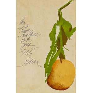Carlos Scliar - Fruta - 28 x 19 cm - Óleo sobre Papel - Ass. LE e Dat. 1966 - Com dedicatória para Lili Correia de Araújo.
