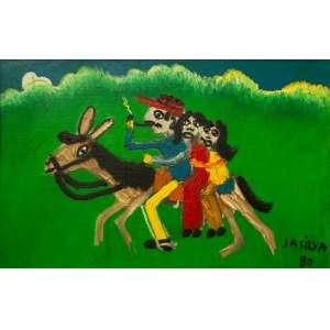 José Antônio da Silva - Passeio à Cavalo - 27 x 41 cm - Óleo sobre Tela - Ass. CID e Dat. 1980