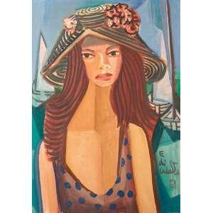 Di Cavalcanti, Emiliano - Mulher com chapéu - Óleo s/ tela - 65 x 45 cm - ass. inferior direito - dat 1961