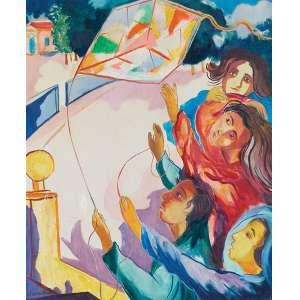 Cícero Dias - Crianças soltando pipa - Óleo s/ tela - 65 x 54 cm - ass. inferior esquerdo - Registrado na catalogação da obra de Cicero Dias