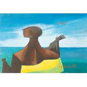 Di Cavalcanti, Emiliano - Mulher no Horizonte - Óleo s/ tela - 37 x 54,5 cm - ass. inferior direito - déc. 60