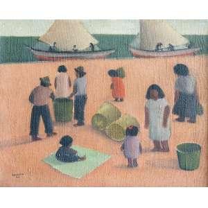 Pancetti, José - Chegada da Pesca - Óleo s/ tela - 39 x 47 cm - ass. inferior esquerdo - dat. 1944. Com cachê da Paulo Darzé Galeria