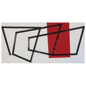 Amilcar de Castro - Fitas - Acrílica s/ tela - 120 x 250 cm - verso - dat. 1990. Registrado no Instituto Amilcar de Castro