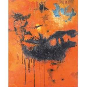 """Mabe Manabu - Sem Titulo - Óleo s/madeira - 61 x 51 cm - inferior esquerdo - dat. 1959. Reproduzido no livro """"Manabu Mabe, anos 1950.1960"""", pág. 128, edição Pinakotheke. Registrado no Instituto Manabu Mabe<br />"""