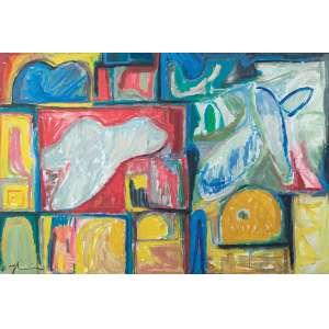 """Jorge Guinle - Mapa Astral II - Óleo s/ tela - 125 x 185 cm - inferior esquerdo e verso - dat. 1980. A obra participou da exposição, """"Homenagem póstuma a Jorge Guinle"""", na Galeria Anna Maria Niemeyer no Rio de Janeiro, em 27/07/1989"""
