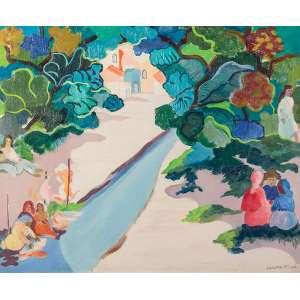 Cícero Dias - Lavadeiras do Capibaribe - Óleo s/ tela - 54 x 65 cm - inferior direito - déc. 50/60. Registrado na catalogação da obra de Cicero Dias