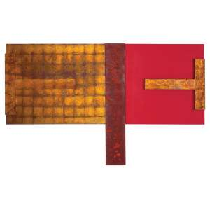 Antonio Dias - Sem Titulo - Acrílica, óxido de ferro, folhas de ouro e cobre s/ tela - 180 x 300 cm - verso - dat 2010
