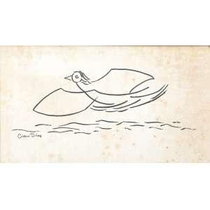 Cícero Dias - Gaivota no Mar - Nanquim s/papel - 33 x 47 cm - ass. inferior esquerdo - déc. 60. Ex coleção Sérgio Baptista Carneiro