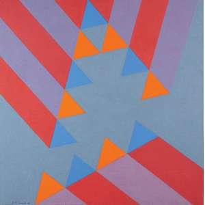 Judith Lauand - Sem Título - Óleo s/ tela - 80 x 80 cm - ass. inferior esquerdo - dat. 1990.Ex-coleção Nelson Lauand