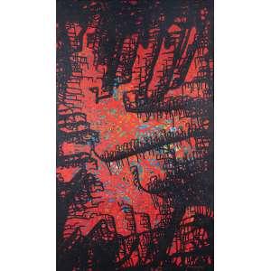 Bandeira, Antônio - Soleil Rouge - Óleo s/ tela - 100 x 60 cm - ass. inferior direito e verso - dat. Paris 1961. Ex coleção Dr. Jayme Vita Roso