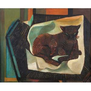 Di Cavalcanti, Emiliano - Gato - Óleo s/ tela - 60 x 73 cm - ass. inferior direito - C.1955. Com cachê da exposição da Bienal Internacional de Veneza em 1956 e cachê do MAM – SP