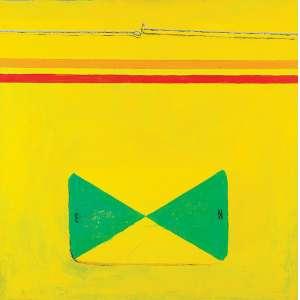 Emmanuel Nassar - Engate Amarelo - Acrílica s/ tela - 90 x 90 cm - ass. verso - dat. 2000. Com cachê da Galeria Luisa Strina