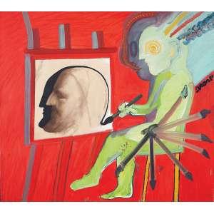 Siron Franco - Um Pintor - Óleo s/ tela - 80 x 90 cm - ass. superior direito e verso - dat. 1981