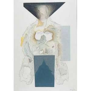 """Samson, Flexor - Bipede - Óleo s/ tela - 100 x 70 cm - ass. inferior direito - dat. 1970. Participou da exposição do artista na """"The Chelsea Art Galleries"""", em 1970. Reproduzido na capa do convite da exposição do artista"""