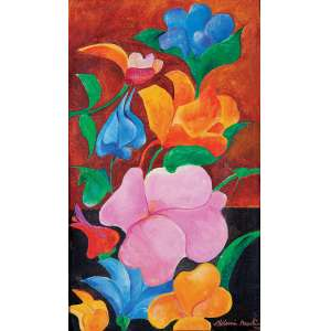 Aldemir Martins - Flores - Acrílica s/ tela - 46 x 27 cm - ass. inferior direito e verso - dat. 1990