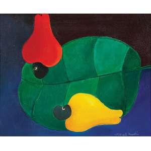 Aldemir Martins - Cajus - Acrílica s/ tela - 22 x 27 cm - ass. inferior direito e verso - dat. 1971