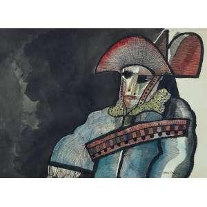 Aldemir Martins - Cangaceiro - Nanquim e guache s/cartão - 60 x 80 cm - ass. inferior direito - dat. 1989