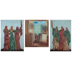 Clovis Graciano - Conjunto de Três Obras - Óleo s/madeira - 90 x 66 cm, 65 x 59 cm e 80 x 53 cm - ass. na obra ao centro - dat. 1957