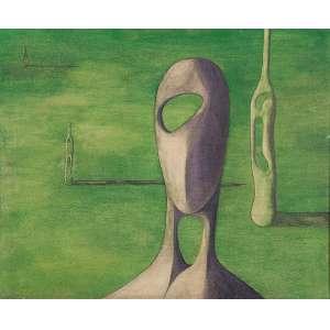 Barsotti, Hercules - Composição - Óleo s/ tela - 45 x 55 cm - ass. verso - dat. 1953. Com cachê do MAM – SP, expo. 1957. Reproduzido no catálogo da exposição do Artista em 2016