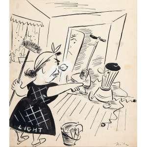 HILDE WEBER - Charges Políticas - Conjunto de 4 desenhos de nanquim s/ papel, Light, 56 x 51 cm, Bicho Papão, 54 x 45 cm, Gazeteando, 46 x 47 cm, e Juventude Getulista, 51 x 50 cm, déc.50