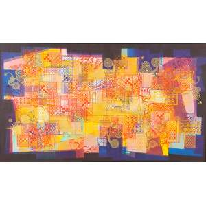BURLE MARX, ROBERTO - Sem Título - Tinta gráfica s/ tecido, 115 x 200 cm, ass. inferior direito, dat. 1985