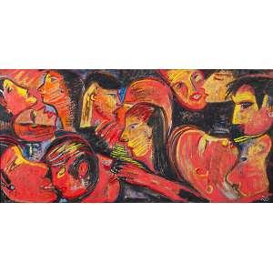 GERCHMAN, RUBENS - Sequência Close ups - Acrílica s/ tela, 100 x 200 cm, ass. inferior direito e verso