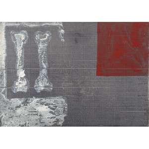 ANTONIO DIAS - Dois Ossos - Grafite, óxido de ferro, gesso e acrílica s/ cartão, 48 x 69 cm, ass. verso, dat. 1986