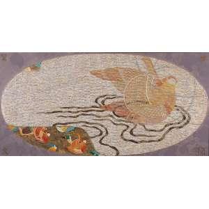 WAKABAYASHI, KAZUO - Casal de Pássaros - Óleo s/ tela, 90 x 180 cm, ass. inferior direito e verso, dat. 2005