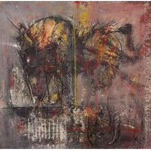 SHIRÓ, FLAVIO - Cosmogonia - Óleo, têmpera s/ tela, 125 x 127 cm, ass. inferior direito e verso, dat. Paris 1989/90