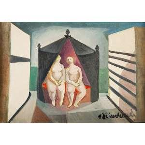 DI CAVALCANTI, EMILIANO - Sem Título - Óleo s/ tela, 45,5 x 65 cm, ass. inferior direito e verso, dat.1971