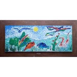 ALDEMIR MARTINS- Paisagem com Animais - Painel de vidrotil, 76 x 196 cm, dat. 1993. Acompanha estudo feito em cartão para o painel, em 1993, 12 x 25 cm,