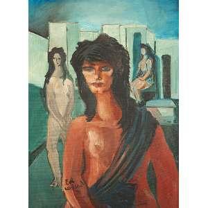 DI CAVALCANTI, EMILIANO - Mulheres - Óleo s/ tela, 81 x 60 cm, ass. inferior esquerdo e verso, dat. 1976
