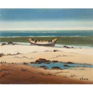 SILVIO PINTO - Barco na Praia, óleo s/ tela, 60 x 73 cm, ass., dat. 1965