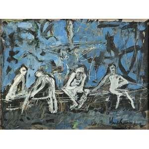 IBERÊ CAMARGO - Mendicantes do Parque da Redenção III, guache e Nanquim s/ cartão, 35 x 45 cm, ass., dat. 1987.