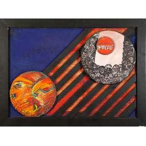 GERCHMAN, RUBENS - Circulos da Materia, óleo com pigmentos s/ tela com interferências de madeira pintada, 50 x 70 cm, ass.