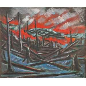INIMA DE PAULA - Queimada na Floresta, óleo s/ madeira, 60 x 72 cm, ass.