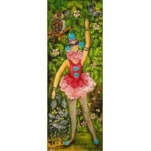 ROSINA BECKER - A bailarina, óleo s/ cartão, 35 x 13 cm, ass., dat. 1989. Com dedicatória no verso.