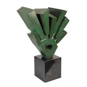BRUNO GIORGI - Arrebol, escultura de bronze patinado na cor verde, 46 x 48 cm, com base de granito 67 cm de altura, ass., ex. coleção Reginaldo e Elizabeth Bertolino.