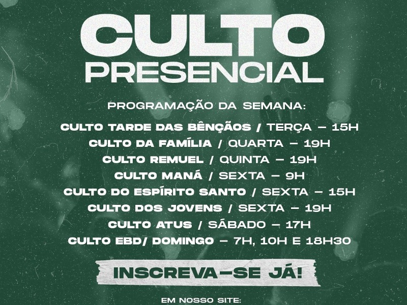 PROGRAMAÇÃO DE CULTOS PRESENCIAIS