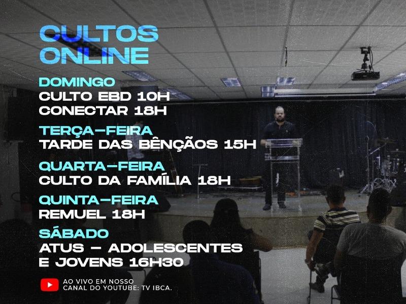 PROGRAMAÇÃO DE CULTOS ONLINE