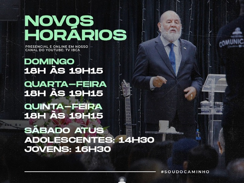 NOVOS HORÁRIOS DE CULTOS