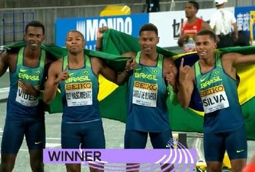 Com dois participantes do Intercolegial, quarteto brasileiro é campeão mundial de revezamento na prova dos 4x100m