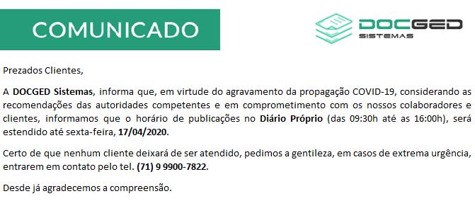 COMUNICADO / COVID-19