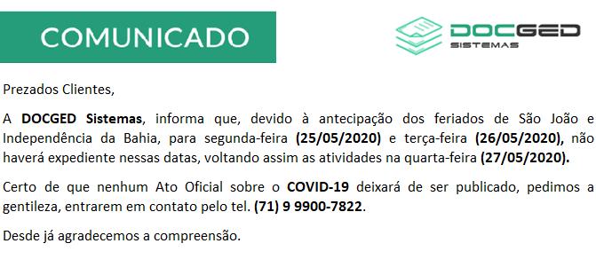 COMUNICADO - ANTECIPAÇÃO DE FERIADOS