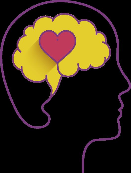 Representação artística da Inteligência Emocional - Ícone mostra contorno do perfil de uma pessoa com o de senho de um cérebro com um coração dentro
