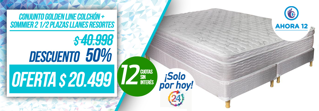 Conjunto Golden Line Colchón + Sommier 2 1/2 Plazas Llanes Resortes