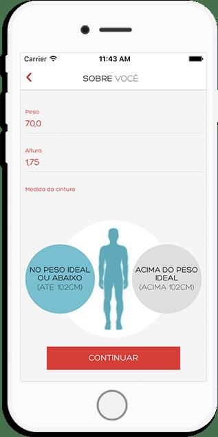 Página de avaliação inicial do Aplicativo Suporte Saúde
