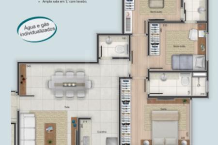Cód: 13811  Excelente localização!  Prédio: Todo revestido em cerâmica, 01 elevador, portão e portaria eletrônico, portaria em vidro blindex, gás canalizado, jardim, salão de festas com cozinha, 03 vagas de garagem.  Apartamento: Sala para dois ambientes com lavabo. 03 Quartos sendo 01 suíte. Banho social com piso em porcelanato, bancada em granito, janelas em esquadrias de alumínio. Cozinha ampla com piso em porcelanato. Área de serviço com piso em cerâmica.