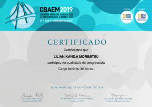 Certificado Dra. Lilian kanda - CBAEM 2019